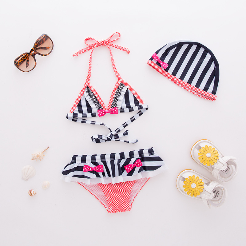 Girls' Two-piece Swimsuit Black And White Stripes Modeling With Hat-3 Pieces Children Hot Springs Tour Bathing Suit