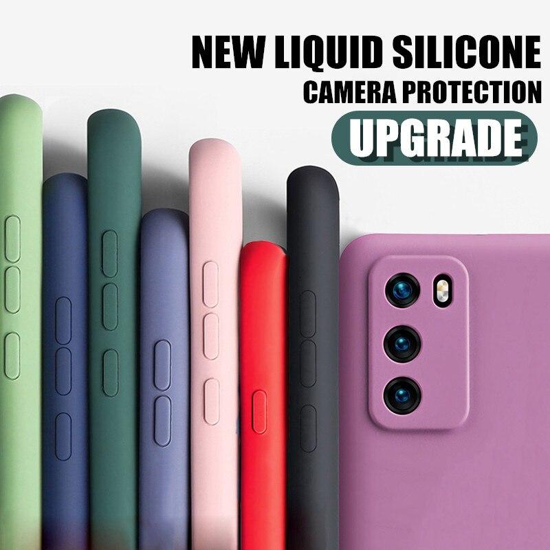 Case For Redmi Note 9 9S Pro Max 8 7 K30 X10 Pro Liquid Silicone Cover For Xiaomi Note 10 Lite 9 SE 8 Lite Lens Protection Cases