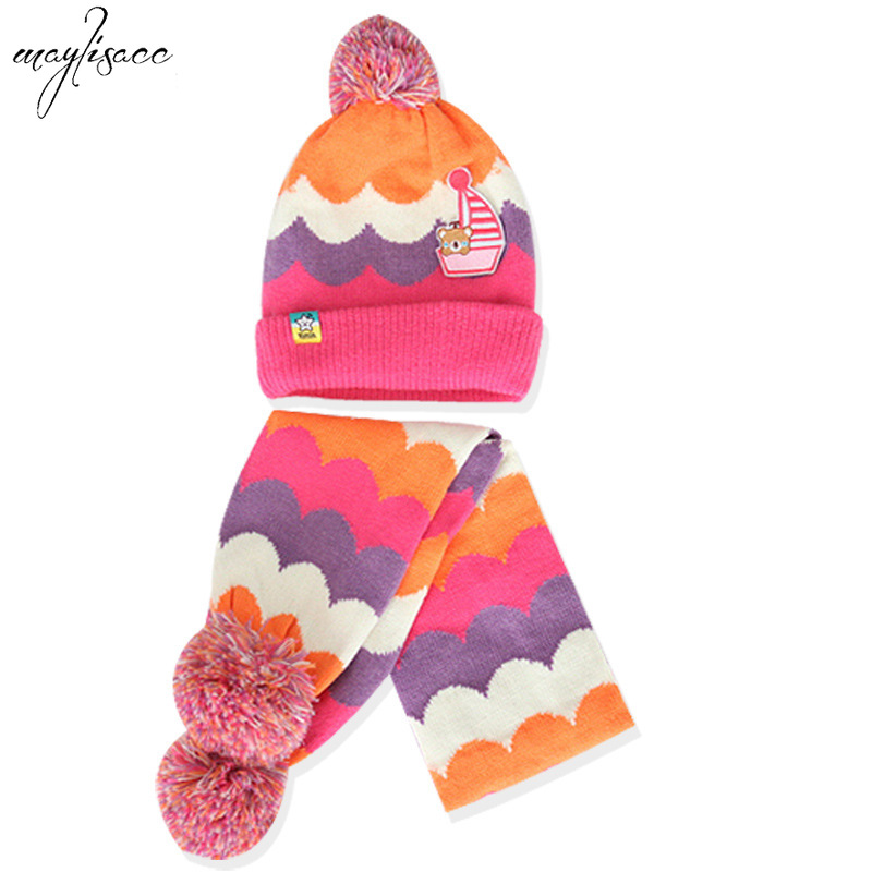 Maylisacc Korean Style 2019 New 1-5 Years Old Boys And Girls Hat Scarf Two-piece Set Baby Winter Warm Children Knitted Hats