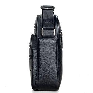 Image 2 - Hommes en cuir véritable sacs à main mâle de haute qualité en cuir de vachette sacs de messager hommes Ipad sac daffaires taille moyenne mallette fourre tout