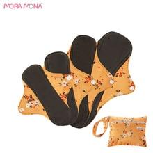 Mora Mona 4 Pcs/Pack Waterproof Reusable Panty Liner Sanitary Napkin Mama Cloth Pad With 1 Travel Bag