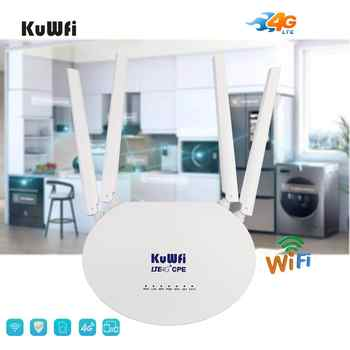 KuWfi 4G LTE CPE Router 300Mbps Wireless Router 3G/4G LTE wifi Router With Sim Card Slot&4Pcs External Antenna 32Users