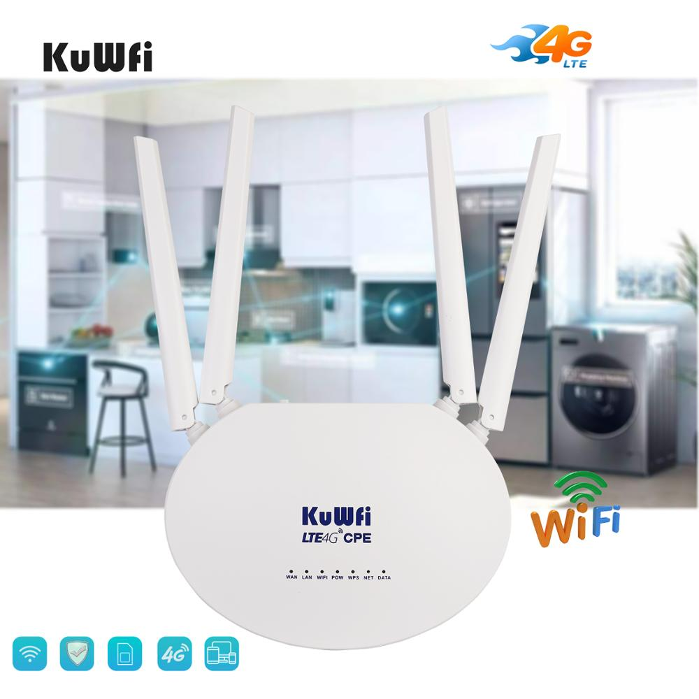 KuWfi 4G LTE CPE Router 300Mbps Wireless Router 3G/4G LTE wifi Router con Sim ranura para tarjeta y antena externa de 4 piezas 32 usuarios - 3
