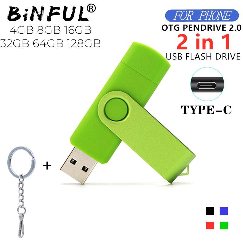 BiNFUL 360 ° Drehen OTG Typ-C USB-stick 32GB USB 2,0 Telefon stift stick 4g 8g 16g 64g 128GB usb speicher geräte U disk