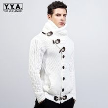 New Quality Brand Fashion Mens Knitted Sweaters Coat Lapel Male Winter Thicken Fleece Duffel Warm Jacket Plus Size 2XL(China)