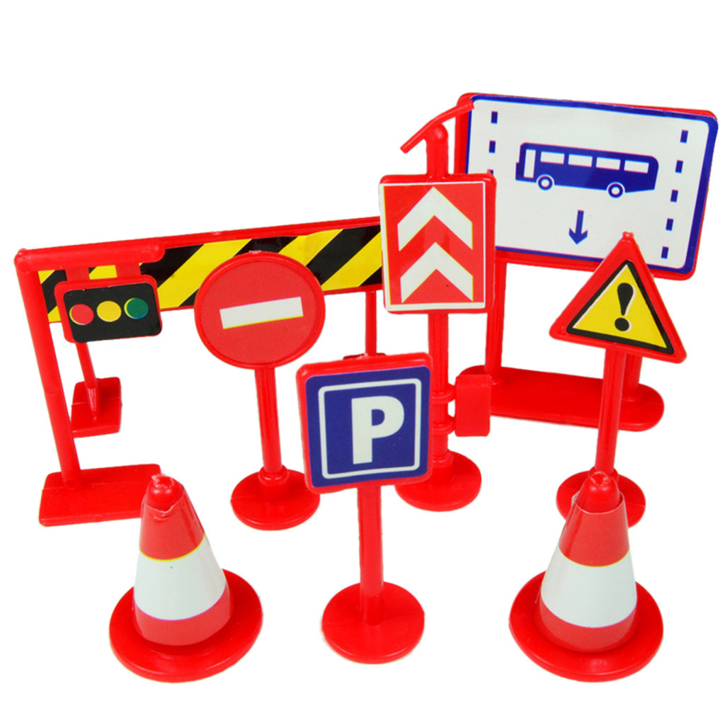 Car Toy Accessories Traffic Road Signs 9pcs Kids Children Play Learn Toy Game Kids Toys Toys For Children Juguetes Para Ninos
