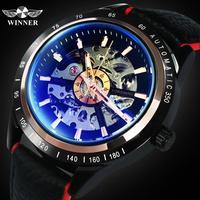 Vencedor oficial relógio mecânico dos homens da motocicleta genuíno vermelho preto banda esqueleto relógios automáticos topo marca de luxo