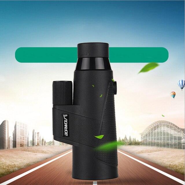 Borwolf 12X50 Monocular Telescope HD Light Night Vision Bak4 Prism  with Phone Clip Tripod Waterproof Binoculars  for hunting