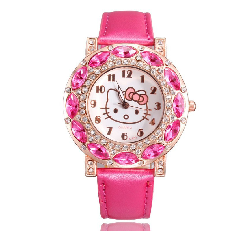 Hello Kitty Women Kids Watch Children Gifts For Grils Fashion Casual Leather Quartz Wrist Watches Kids Clock