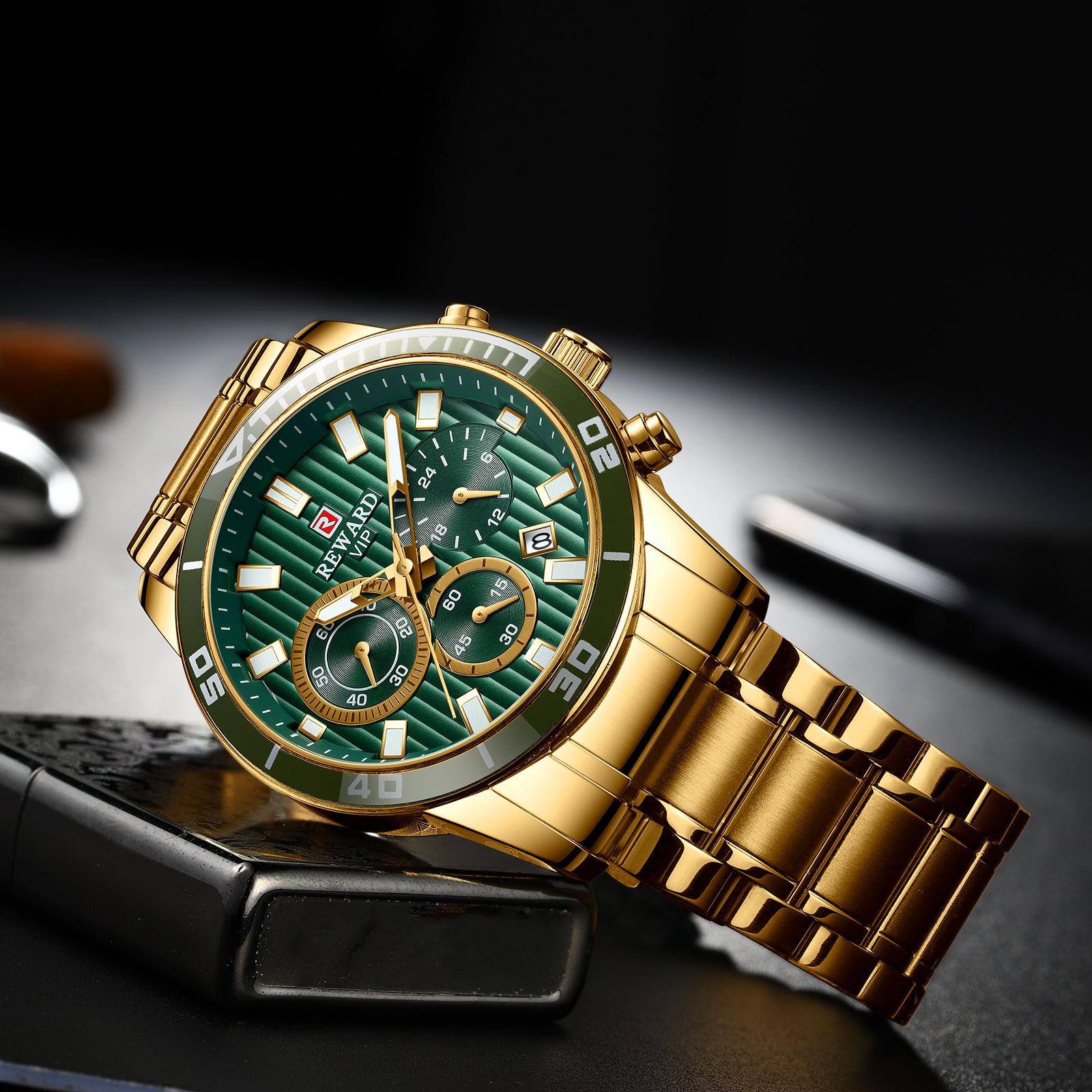 Hot Sale Classic Design Top Brand Luxury Watch Men Fashion Gold Green Men's Watch Multifunction Sport Watches Relogio Masculino