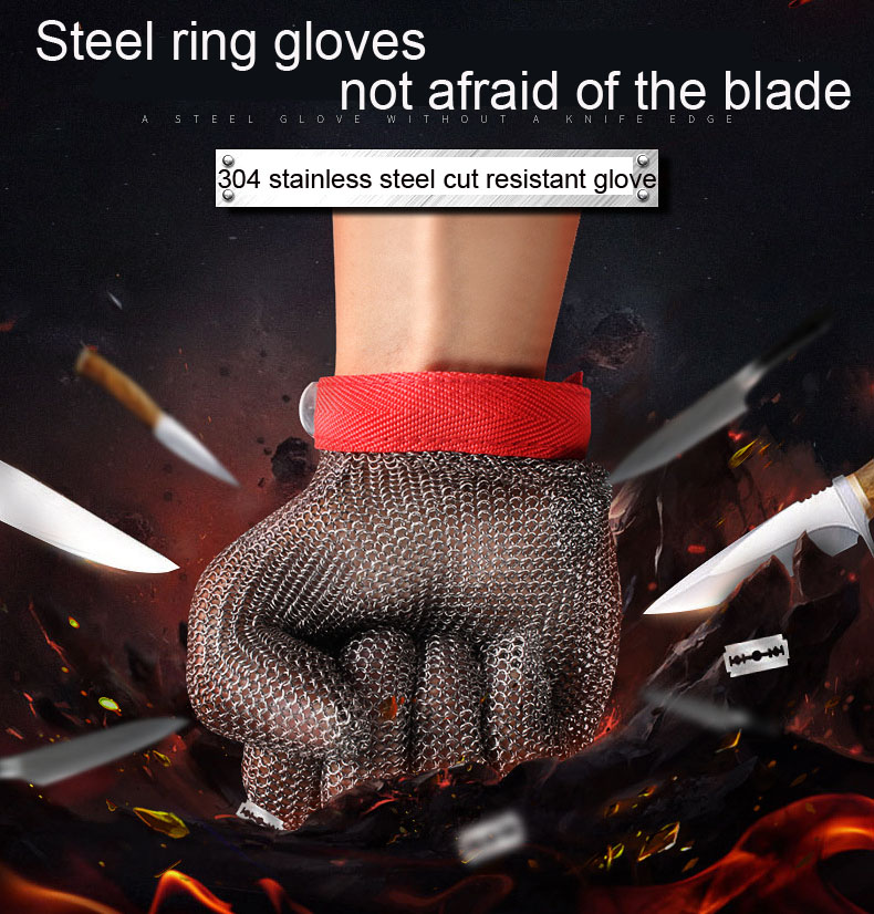 Safety Protective Gloves High Quality100% Stainless Steel Ring 304 Cut Resistant Butcher Protect Meat Gloves For Kitchen Butcher