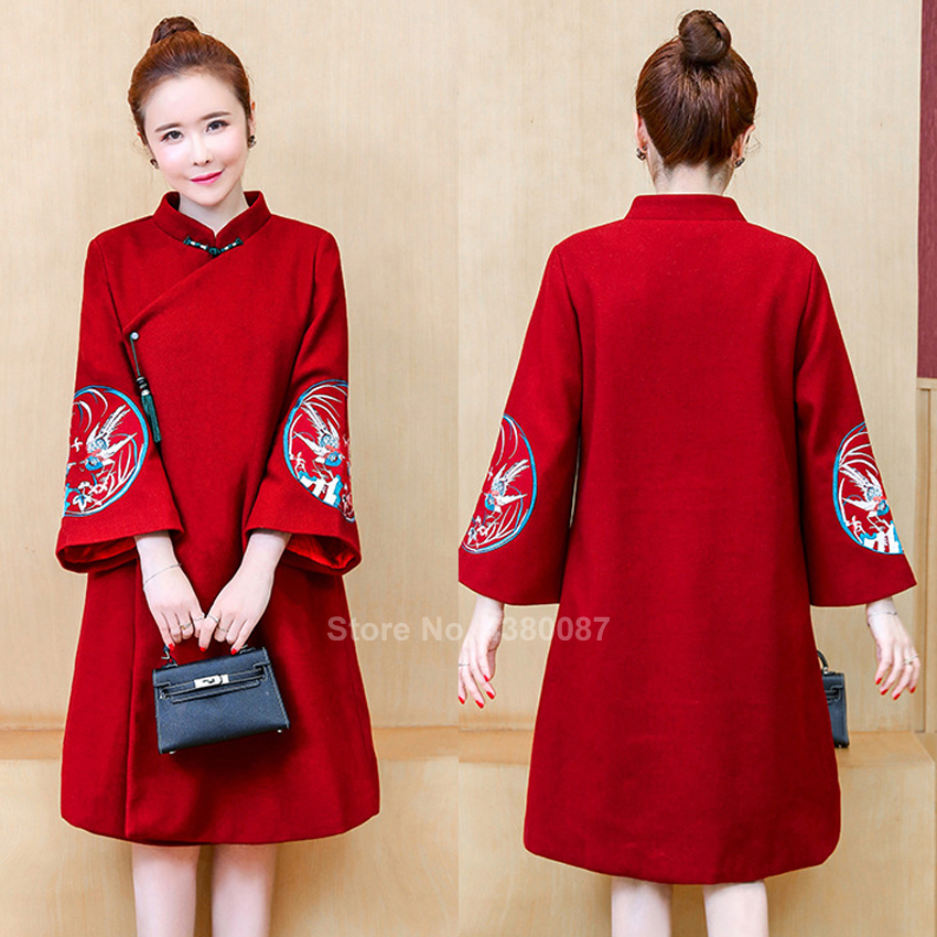 Women Winter Coat Traditional Chinese Clothing Winter Thick Cheongsam Dress Crane Embroidery Vintage Wool Qipao New Year