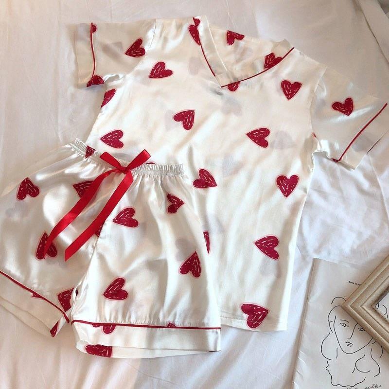 Pajimas For Women Heart Print Short Sleeves Sleepwear  Pajama Set Summer Female Nightgown Ladies Plus Size Nightwear Homewear