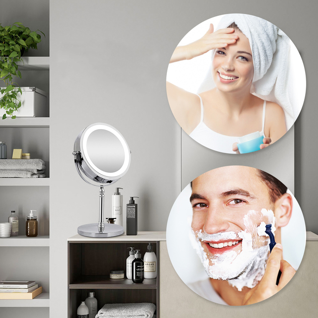 10X Magnifying Makeup Mirror With LED Light Cosmetic Mirrors Round Shape Desktop Vanity Mirror Double Sided Backlit Mirrors 5