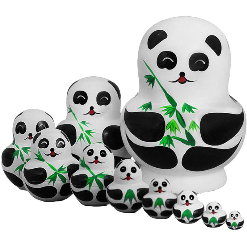 Wooden Panda Animal Russian Nesting Dolls Toy Handmade Craft Kids Gift 10Pcs