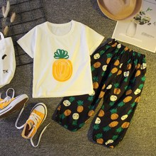New Cute Toddler Kids Baby Girl Set Tee Pants Pineapple Pattern Concise Comfy Kid Clothes 2pcs 0-3T Newborn