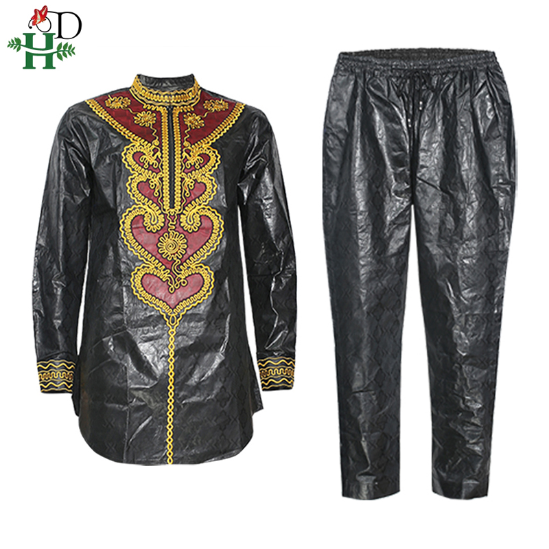 H&D Dashiki Men Shirt Pant Suit Embroidery Bazin Long Sleeve Tops With Trousers Plus Size African Men Clothes 2020 Robe Africain