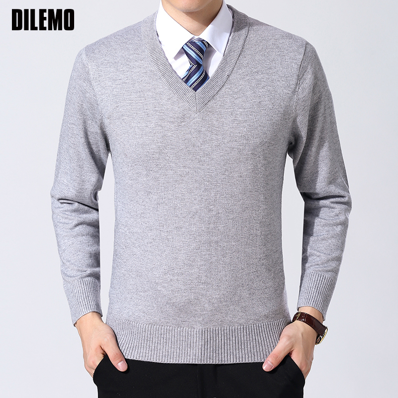 2020 New Fashion Brand Sweater Mens Pullover V Neck Slim Fit Jumpers Knitting Thick Warm Autumn Korean Style Casual Mens Clothes