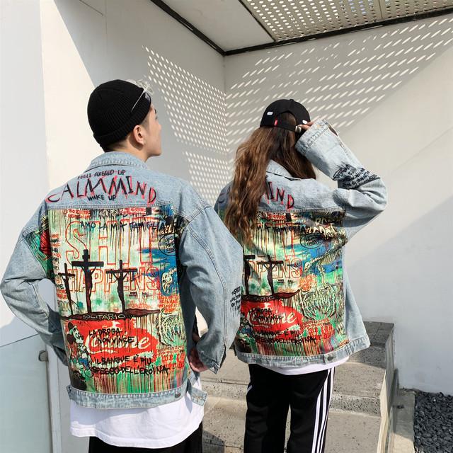 Devil Hand painted printing Men Denim Jacket Cartoon Graffiti Print Loose Coats Vintage Hip Hop Leisure Outerwear
