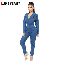 Denim Overalls Womens Jean Jumpsuits Washed Jeans Denim Casual Backless Rompers Zipper Deep V Neck Slim Fit One piece Long Pants
