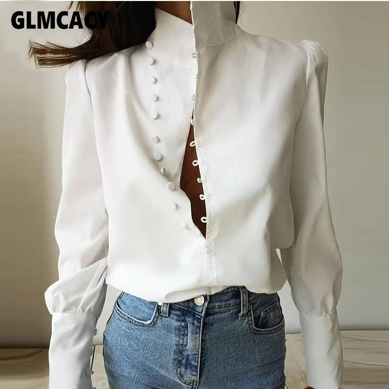 Women Buckle Stand Collar Top Blouse Solid White Office Lady Spring Fall Elegant Loose Style Fashion New Trends Shirt