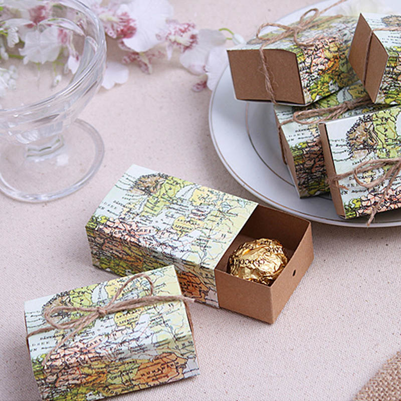 10 Pcs Around The World Map Favor Boxes Vintage Kraft Favor Box Candy Gift Bag For Travel Theme Party Wedding Birthday