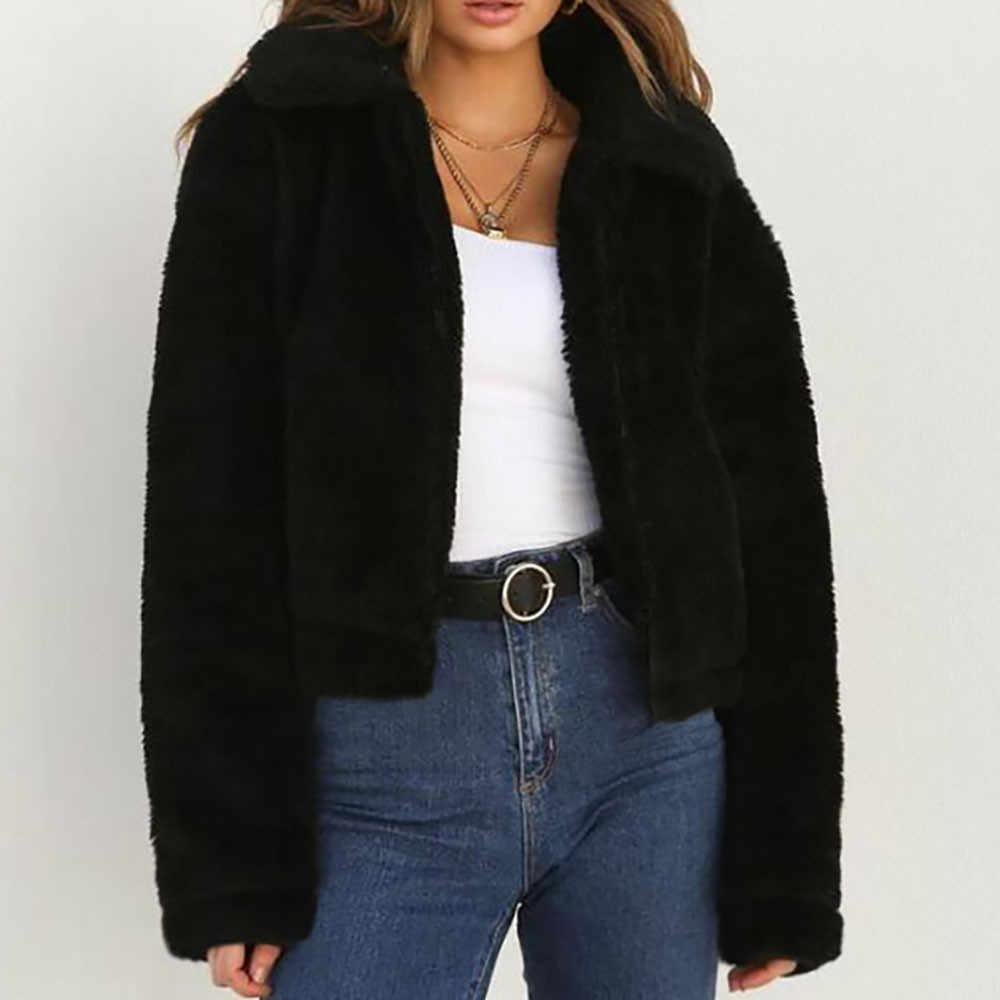 Musim Dingin Hangat Wol Buatan Mantel Wanita Solid Turn-Down Kerah Ritsleting Jaket Bulu Wanita Musim Dingin Jaket Mantel Casaco