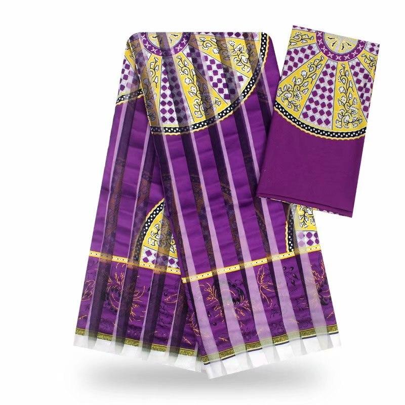 Tissu de soie imité de cire africaine ankara 2019 tissu de satin 4 yards audel/modell coton tissu pour robe + 2 yards mousseline! J42376