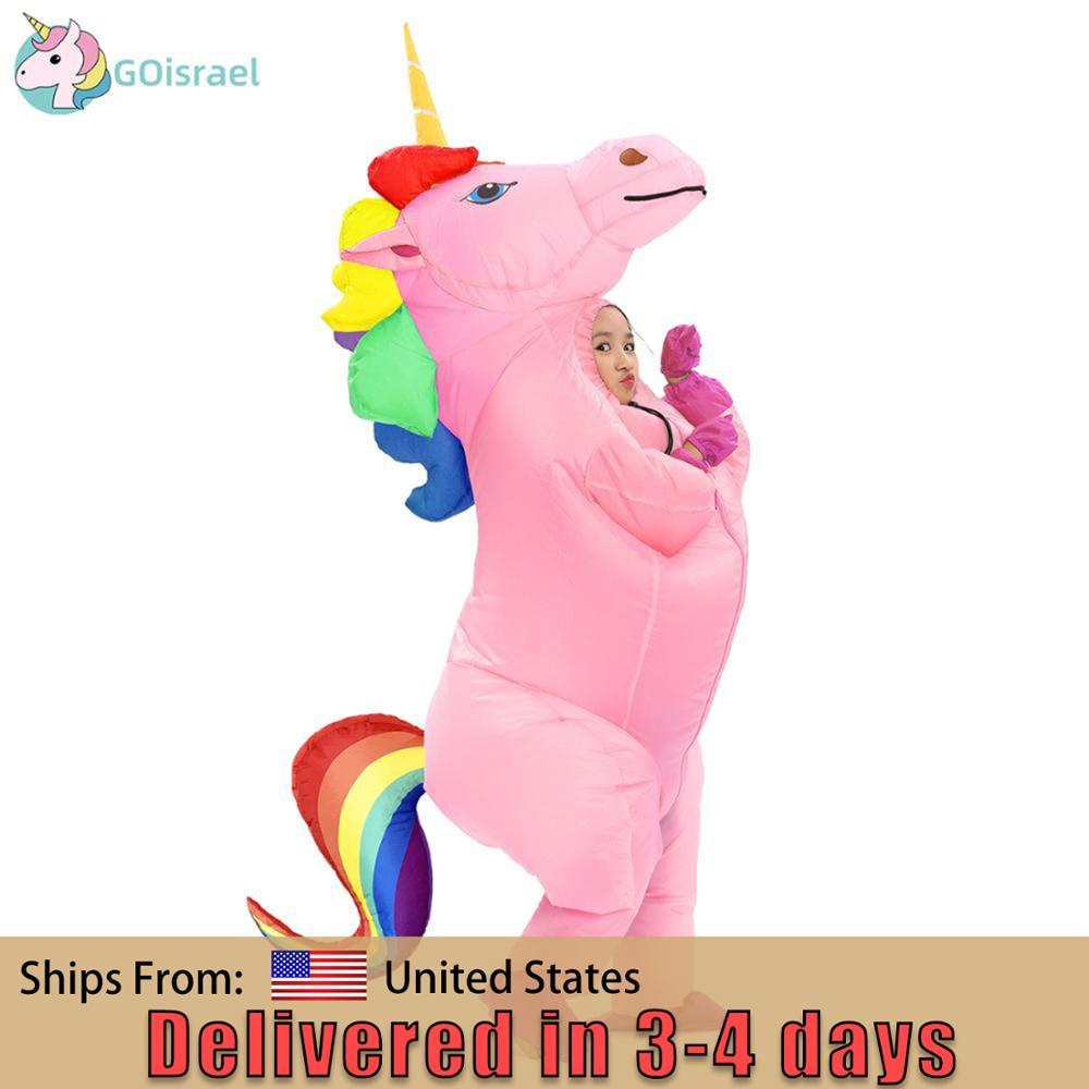 New Adult Kids Inflatable Unicorn Costume Pony Halloween Costumes For Women Men Cosplay Fantasia Party Inflatable Suit Jumpsuit