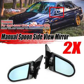 Carbon Fiber Look Manual Adjustable A Pair Car Door Rear View Side View Mirror Assembly For Honda For Civic EK 4Dr 1996-2000