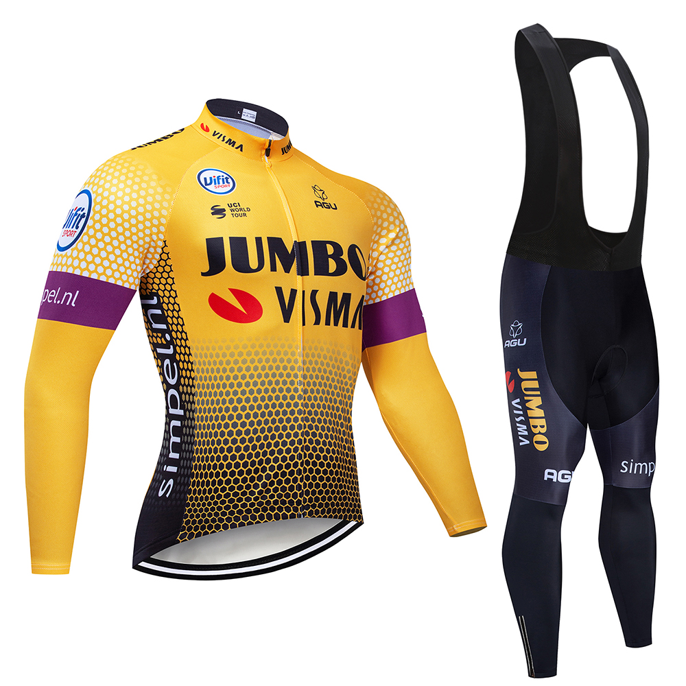 2019 Winter YELLOW JUMBO TEAM Long Cycling JERSEY <font><b>Bike</b></font> Pants men's Ropa Ciclismo Spring and autumn cycling Maillot Culotte <font><b>wear</b></font> image
