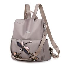Nylon Outdoor Casual Wild Lady Bag Dragonfly Embroidery Ethnic Style Function Backpack Waterproof Travel