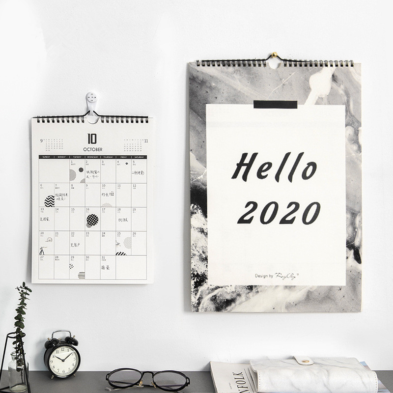 Hello 2020 Creative Simple Wall Calendar Moon Tearable Calendar Daily Planner Agenda Organizer 2019.10-2020.12