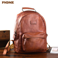 PNDME high quality genuine leather men's backpack simple vintage natural cowhide women's travel bagpack student laptop bookbag