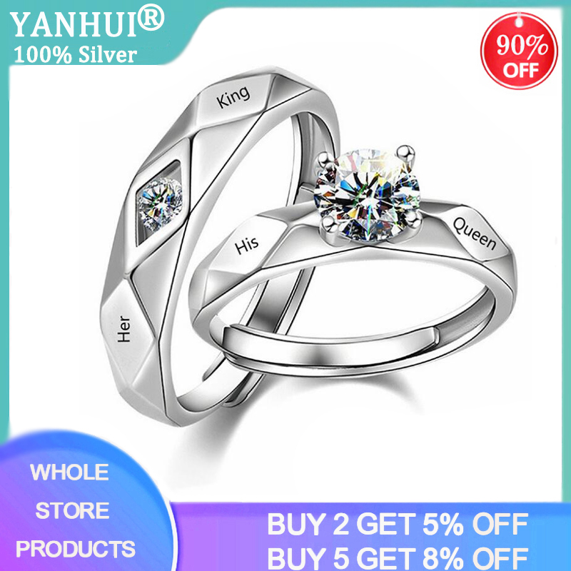 2PCS His Queen & Her King Engagement Couple Rings For Lovers 2020 New Fashion Zircon Adjustable Rings Set Dropshipping R2948