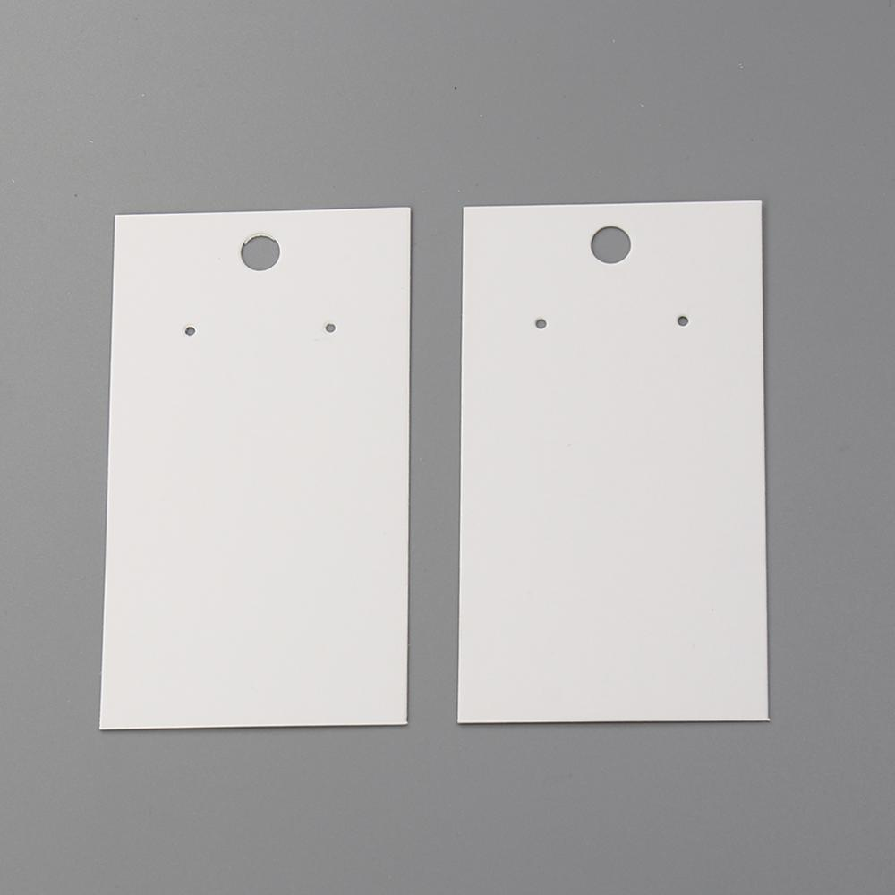 DoreenBeads 20 Sheets Paper Jewelry Display Card Rectangle White Earring Necklace Gift Packing Package 89mm X 50mm