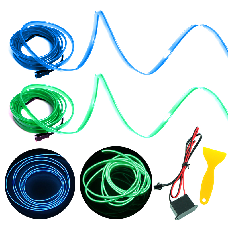 3M Waterproof Strip Light Neon Light Glow <font><b>EL</b></font> Wire Rope Tube Cable+Battery <font><b>Controller</b></font> For <font><b>Car</b></font> Decoration Party image