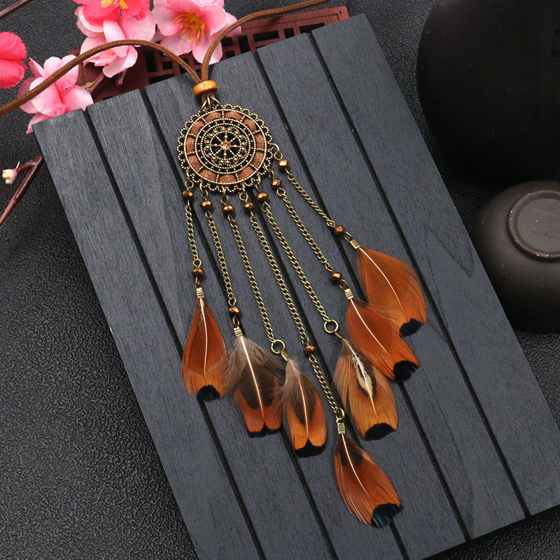 He68a331a91c64802a6d541cb68bb9b8eg - Women Bohemian Ethnic Long Chain Feather Pendant Dreamcatcher Necklace Choker Boho Clothing Jewelry Accessories