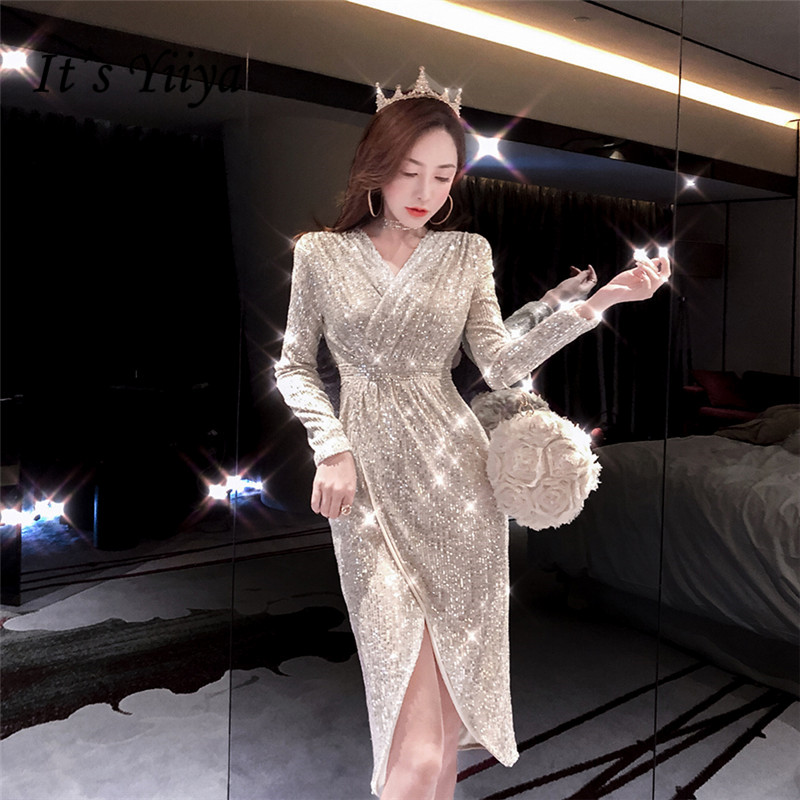 It's Yiiya Evening Dresses Apricot Sequined Shining Full Sleeve Evening Gowns Elegant Tea-Length Robe De Soiree For Women K056
