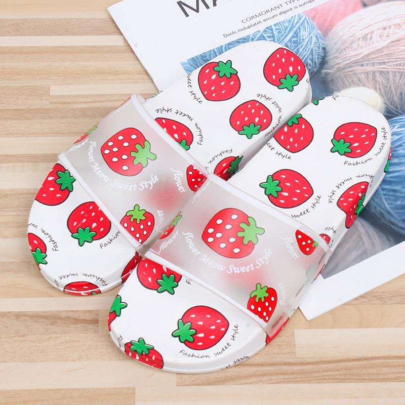 Summer Slippers Women Cute Fruit Flat Flip Flops Ladies Soft Slides Shoes Female Outdoor Flat Beach Slides Sandalias Mujer