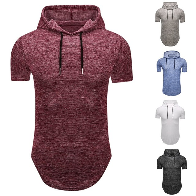 Personalized Men's Summer Solid Color Short-Sleeved T-shirt Top Pullover Hooded Lose Weight T-shirts Men's T-Shirts Lil peep F1
