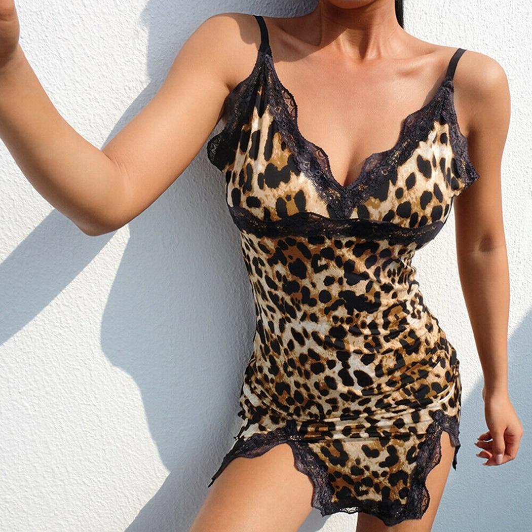 He68aa77e2ed847519e5beb596ed71dce1 Sexy Hot Women Leopard Printed Lace Night Dress Lingerie V Neck Night Gown Summer Sleepwear Spaghetti Strap Nighty Sleep Wear
