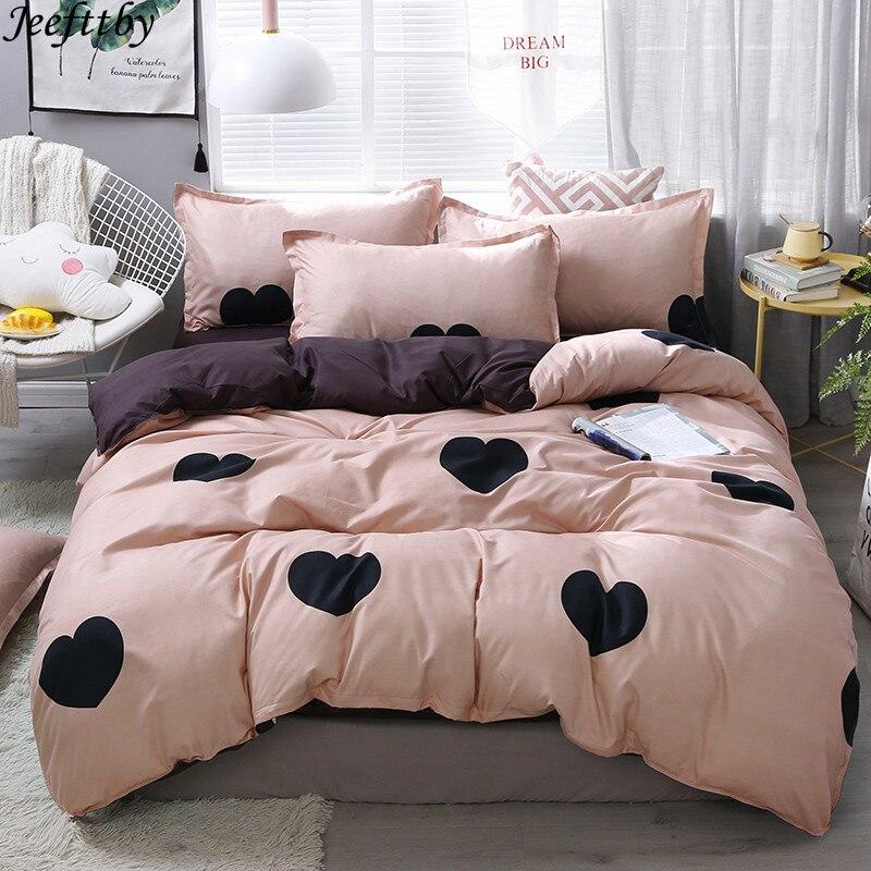 Home Textile Pink Girl Heart Bedding Set  3/4pcs Quilt Cover Queen Full King Size Children Cartoon Duvet Cover  Bedclothes