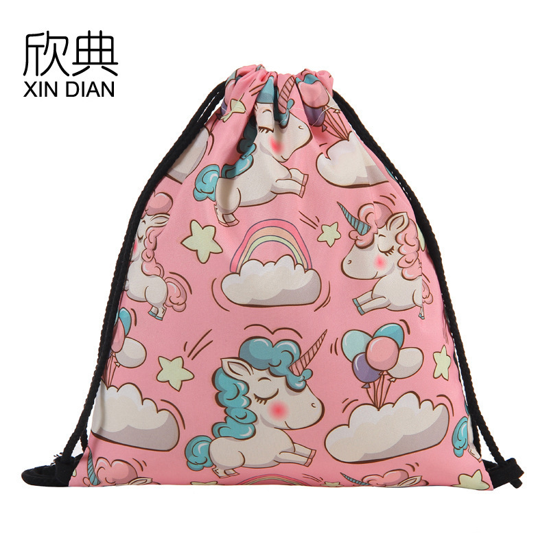 2019 Rushed Hot Style Of Pocket Girl Heart Unicorn Printed Draw String Bag For Wish Amazon Cross border Receive A Backpack in Drawstring Bags from Luggage Bags