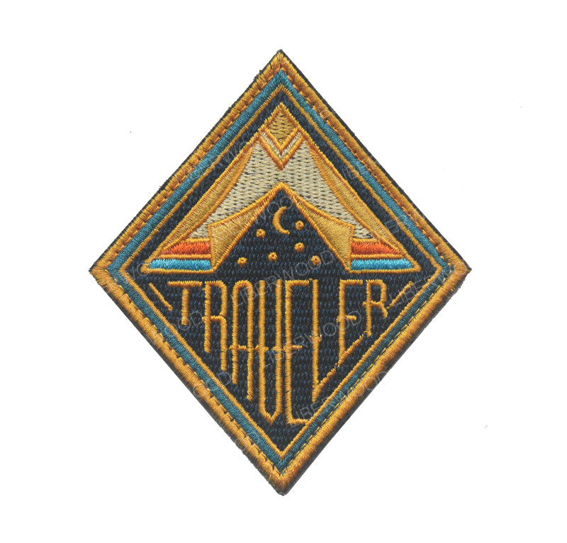 Traveler Embroidered Patch Badge Tent Night Camp Star Moon Explore Wander Scout