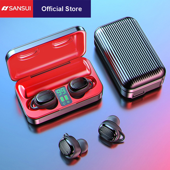 SANSUI TWS Wireless Bluetooth Earbuds IPX5 waterproof with LED Display, HiFi stereo and noise cancelling