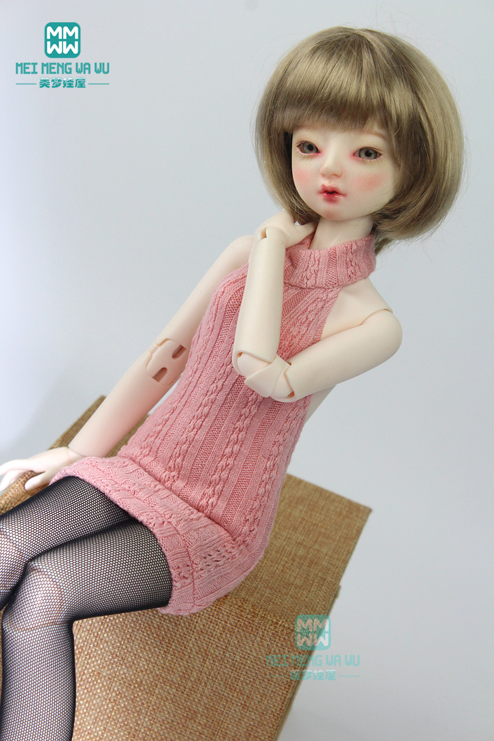 Clothes For Doll Fit 43cm 1/4 BJD Accessories Pink Sexy Halter Sweater, Long-legged Stockings