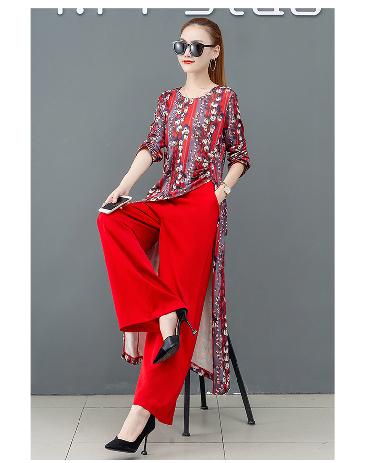 Printed Two Piece Sets Outfits Women Plus Size Splicing Long Tops And Wide Leg Pants Suits Elegant Office Fashion Korean Sets 47