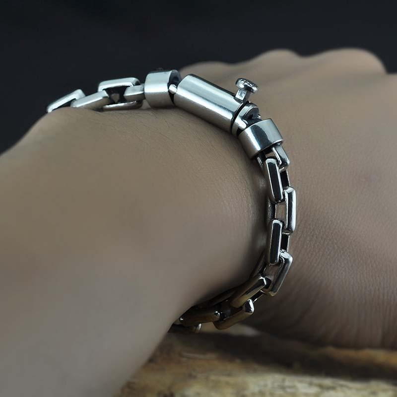 100% 925 argent Sterling Vintage boîte lien Bracelet femmes hommes bijoux fins solide tibétain argent fermoir serrure chaîne Bracelet