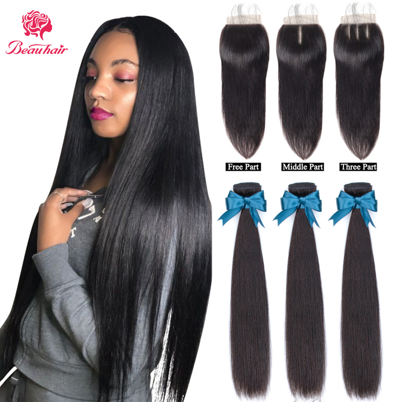 Brazilian Human Hair Straight Bundles With Closure Human Hair Double Weft Bundles With Closure Straight Hair Extension For Women